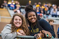 Two students at an MWSU football game