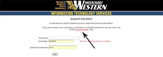 Screenshot of account activation page that points to the account lookup link