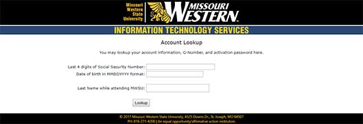Screenshot of account lookup page