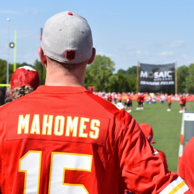 Man in a Mahomes jersey faces Chiefs Training Camp
