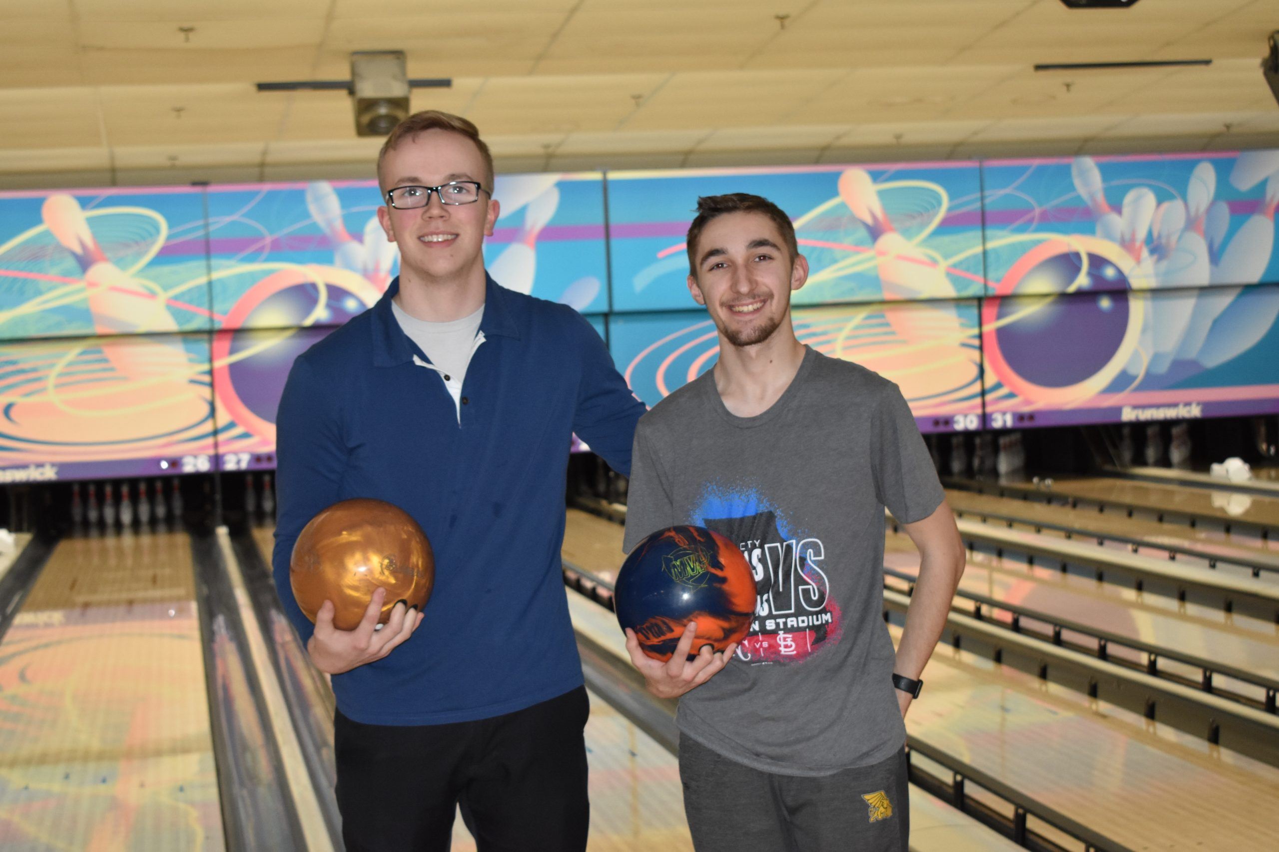 Bowling Team members Carson Field and Jacob Dec