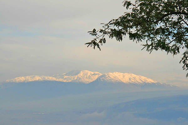 Snow Covered Mt. Hermon north of Banias and source of Jordan River Water