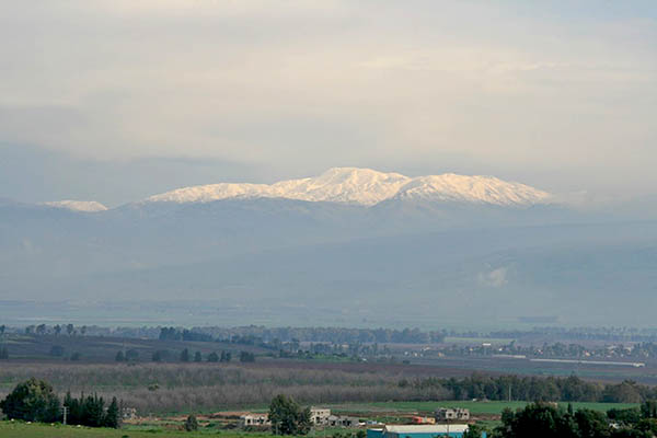 Mt. Hermon above Banias and Golan Heights