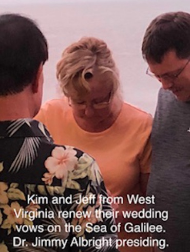 Kim and Jeff from West Virginia renew their wedding vows on the Sea of Galilee. Dr. Jimmy Albright presiding.