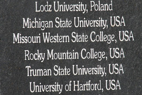 Stone at Tel Bethsadia showing Missouri Western State College