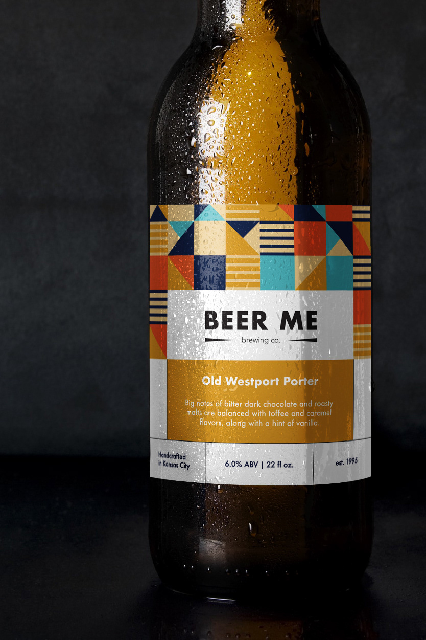 a close up of a beer label on a grey background