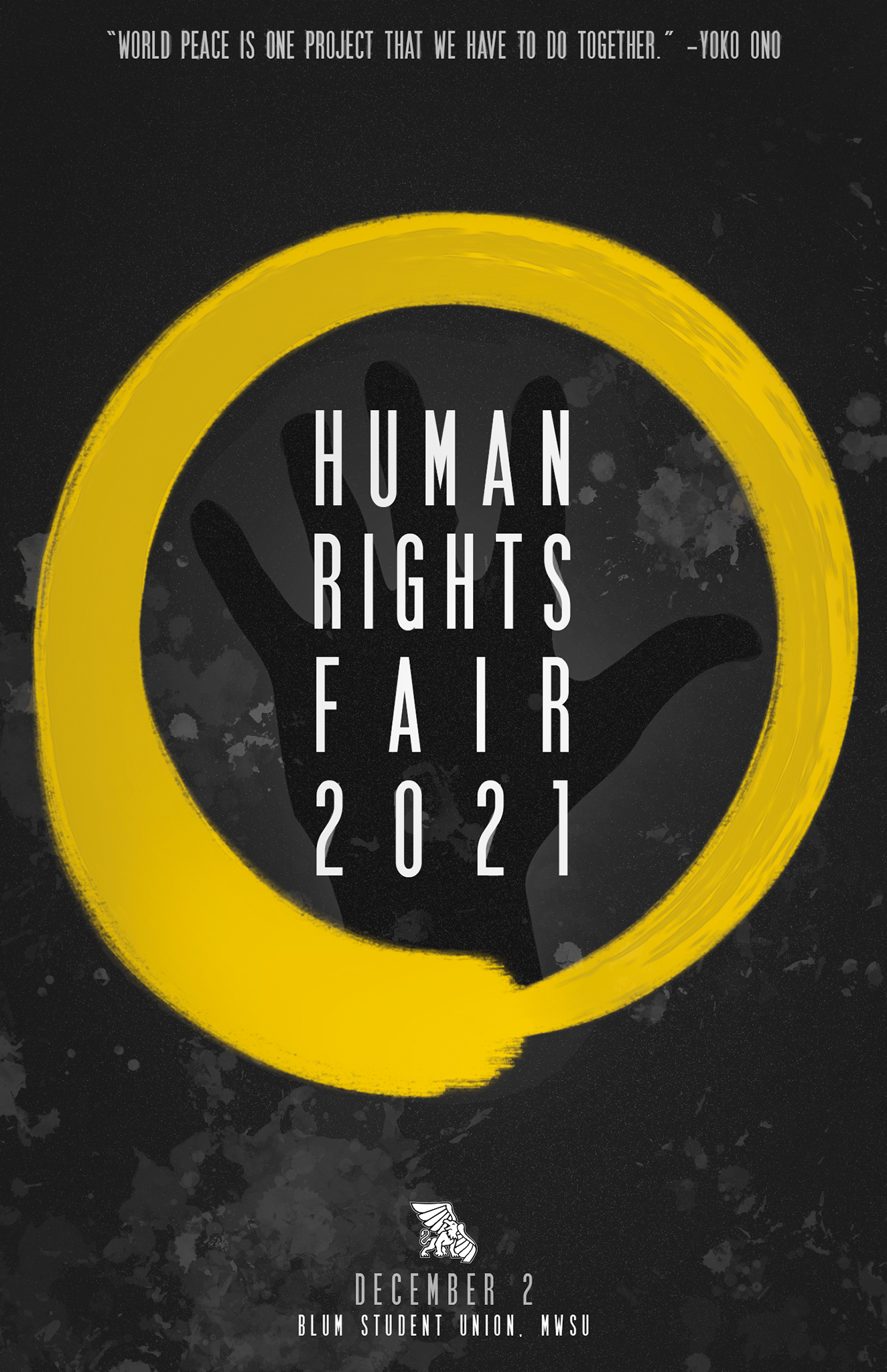 poster that says human rights fair 2021 with a gold circle around it