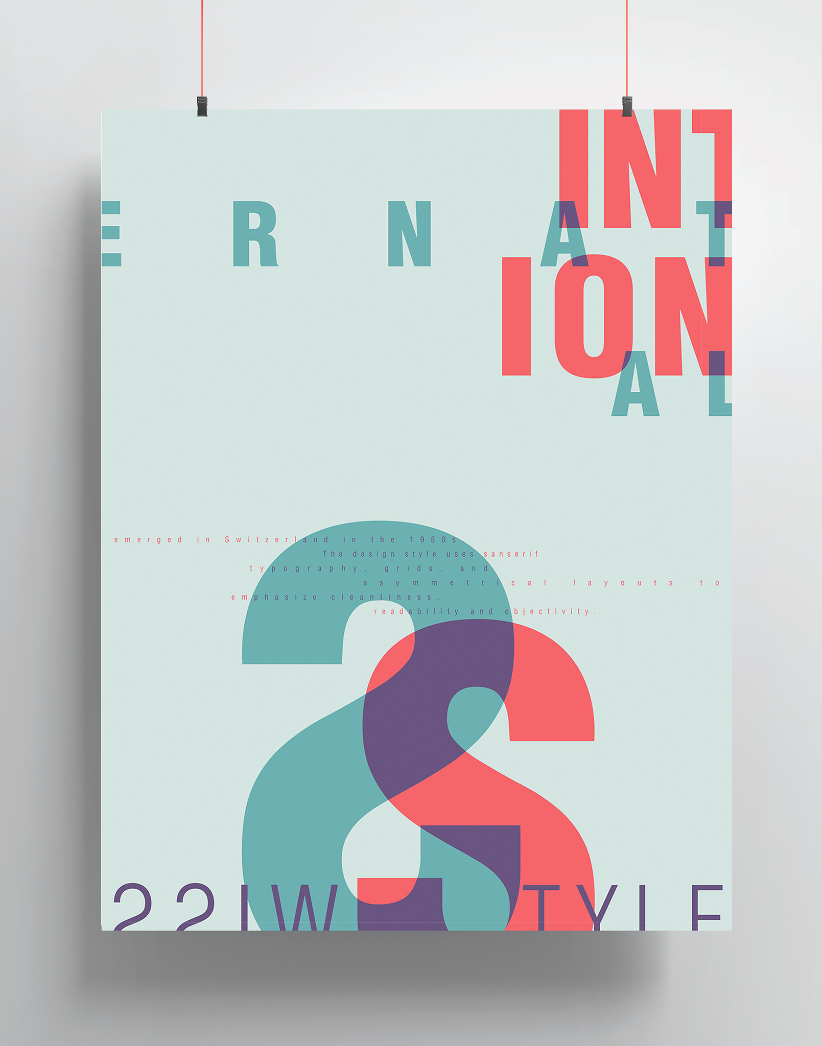 a poster with red and green text that reads international in an abstract fashion on a grey background