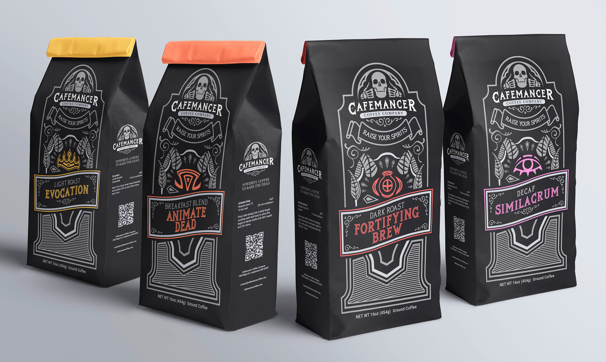 four bags of coffee in front of a grey back drop