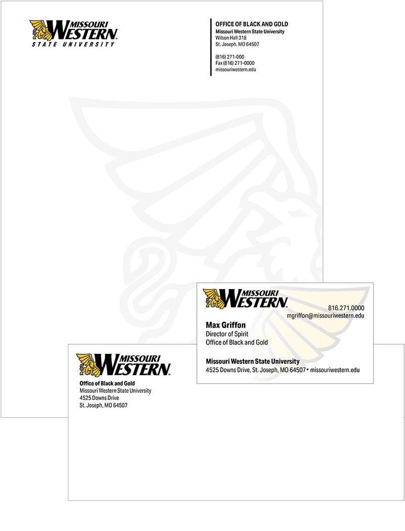 MWSU letterhead, envelopes and business cards