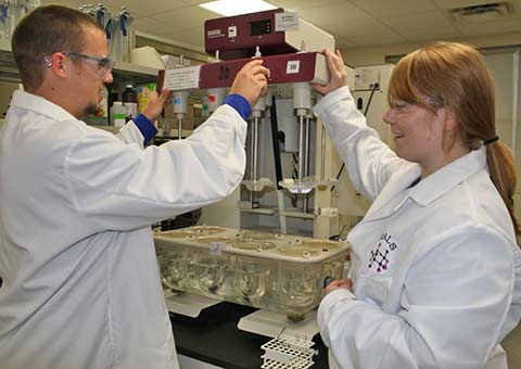 Two students working in the chemistry lab