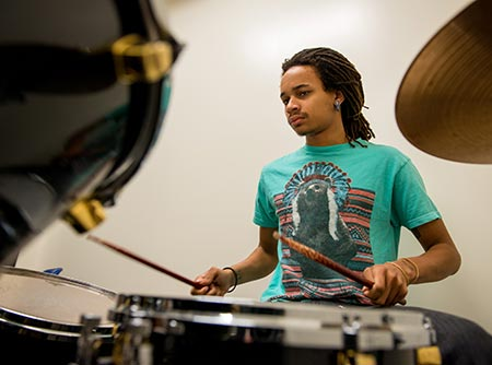music student playing drums
