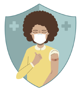 clip art of a happily vaccinated person