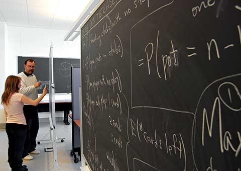 Math professor teaching class