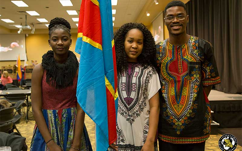 International students at MWSU with their country flag