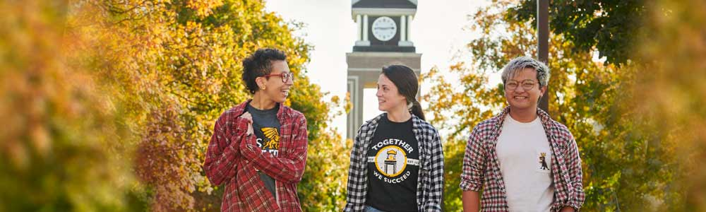 MWSU students walking in front of clock tower