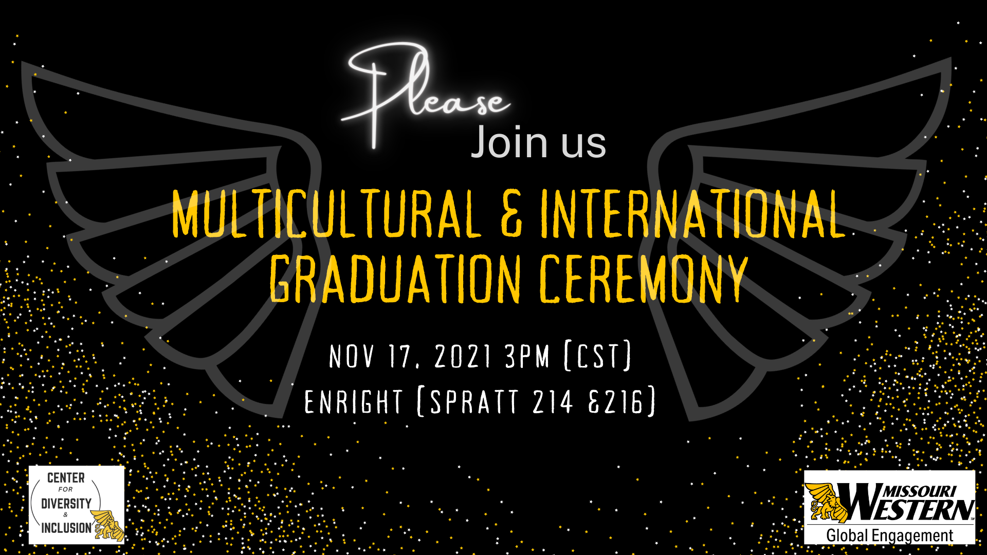 Multicultural and International graduation ceremony flyer with a design of wings in the background