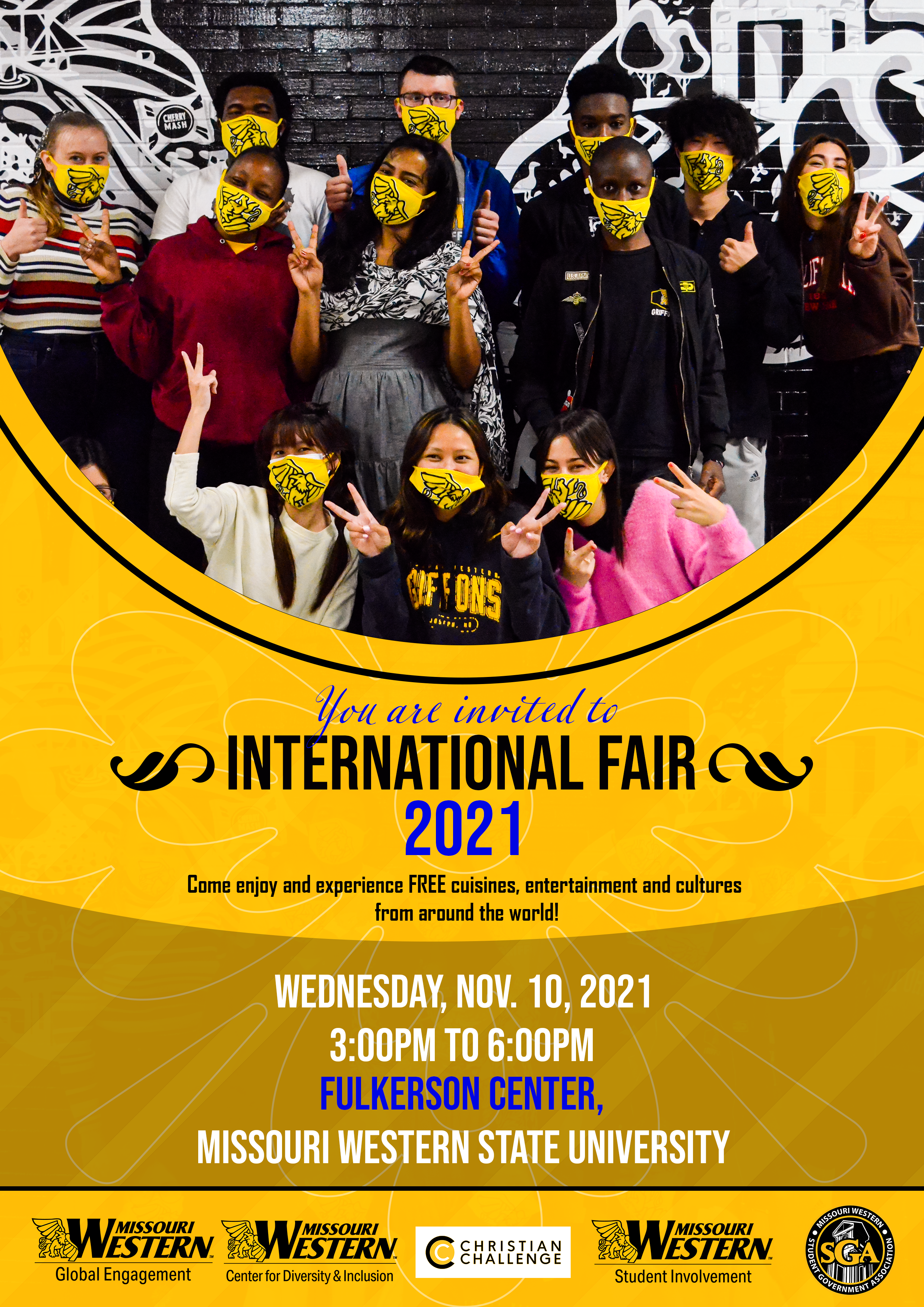 International fair flyer with a photo of students posing in front of a mural