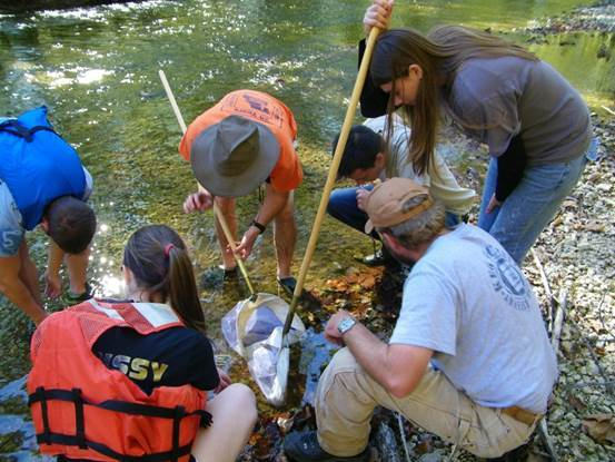Biology students working at a river
