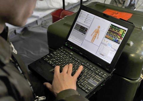 Laptop displaying health information