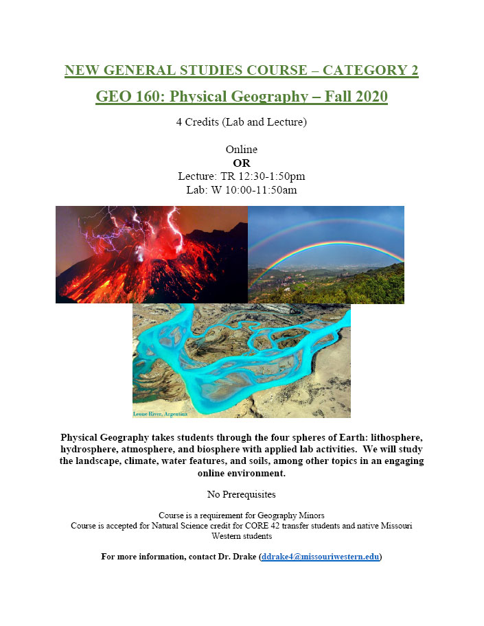 Fall 2020: GEO 160 Physical Geography