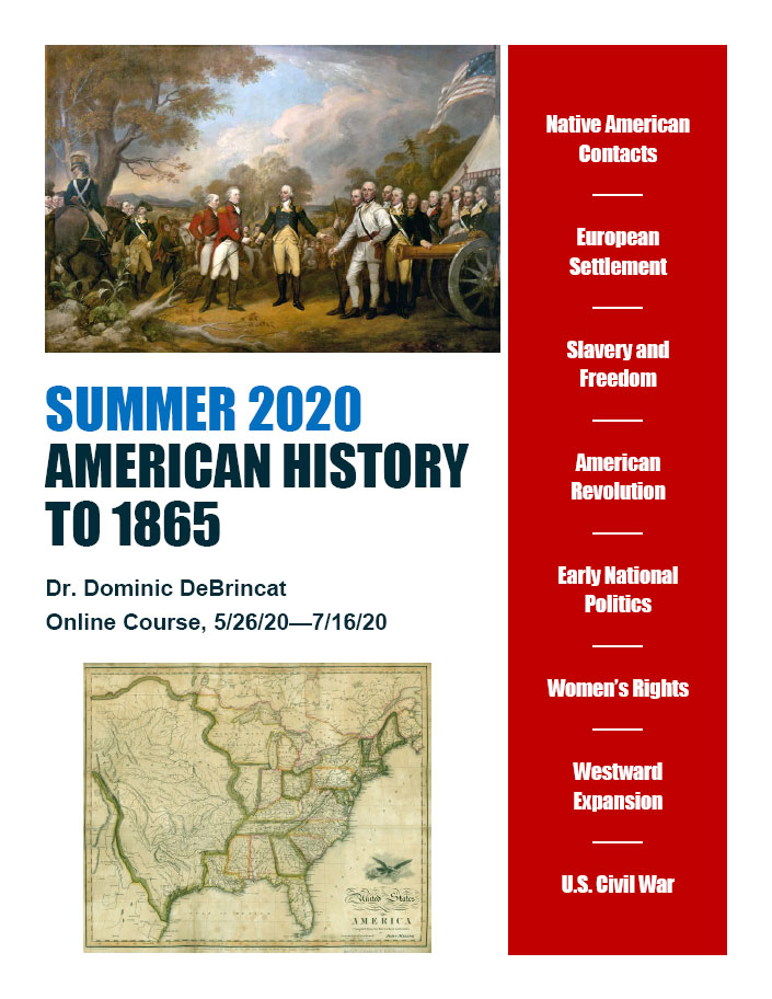 Summer 2020: AMERICAN HISTORY TO 1865