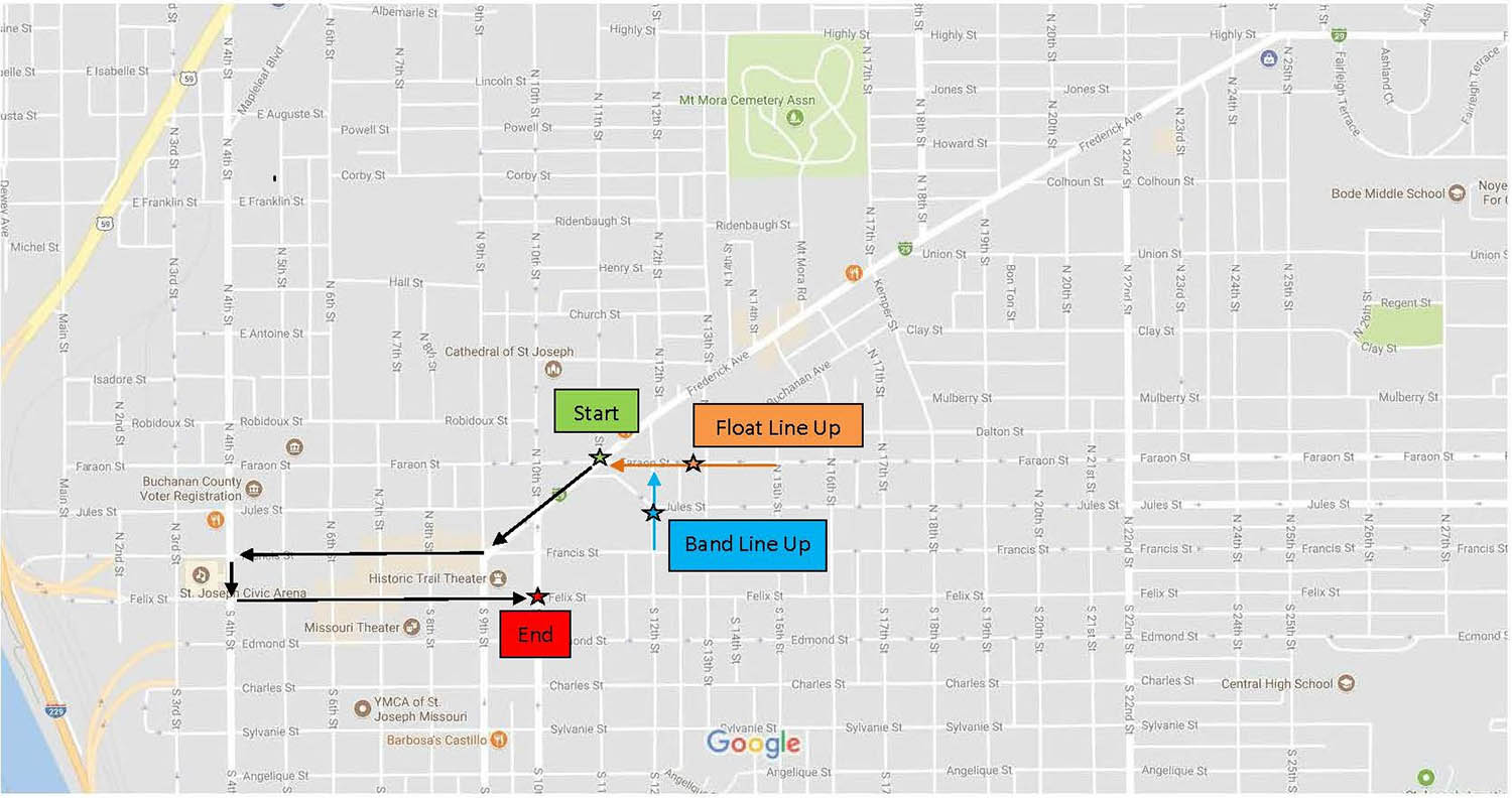 MWSU Homecoming Parade Route