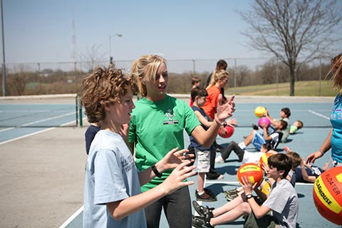 Students instructing students during a recreation activity