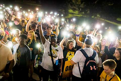 MWSU students light up the campus with their cell phone lights