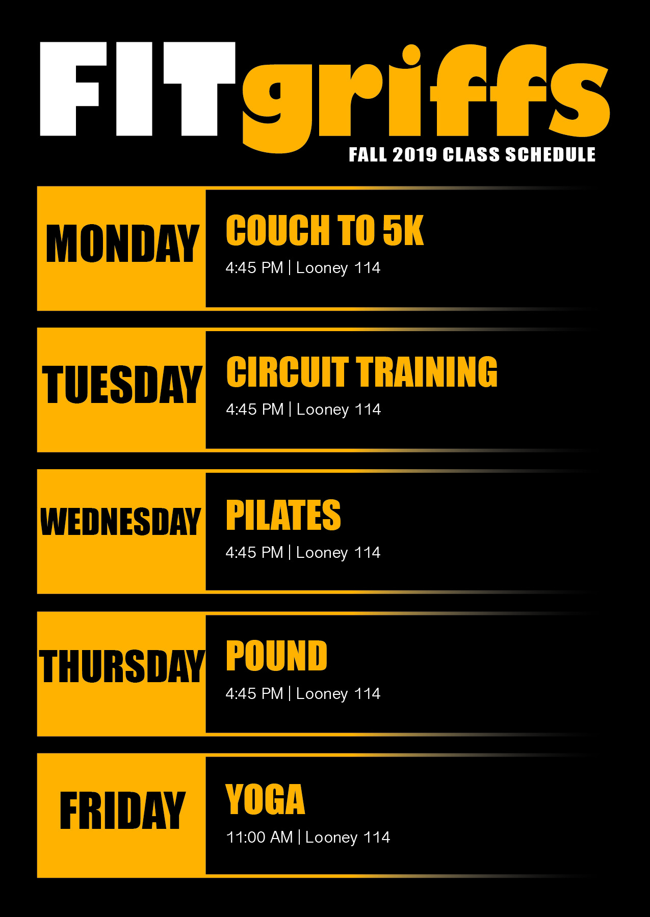 FITgriffs Fall 2019 Class Schedule