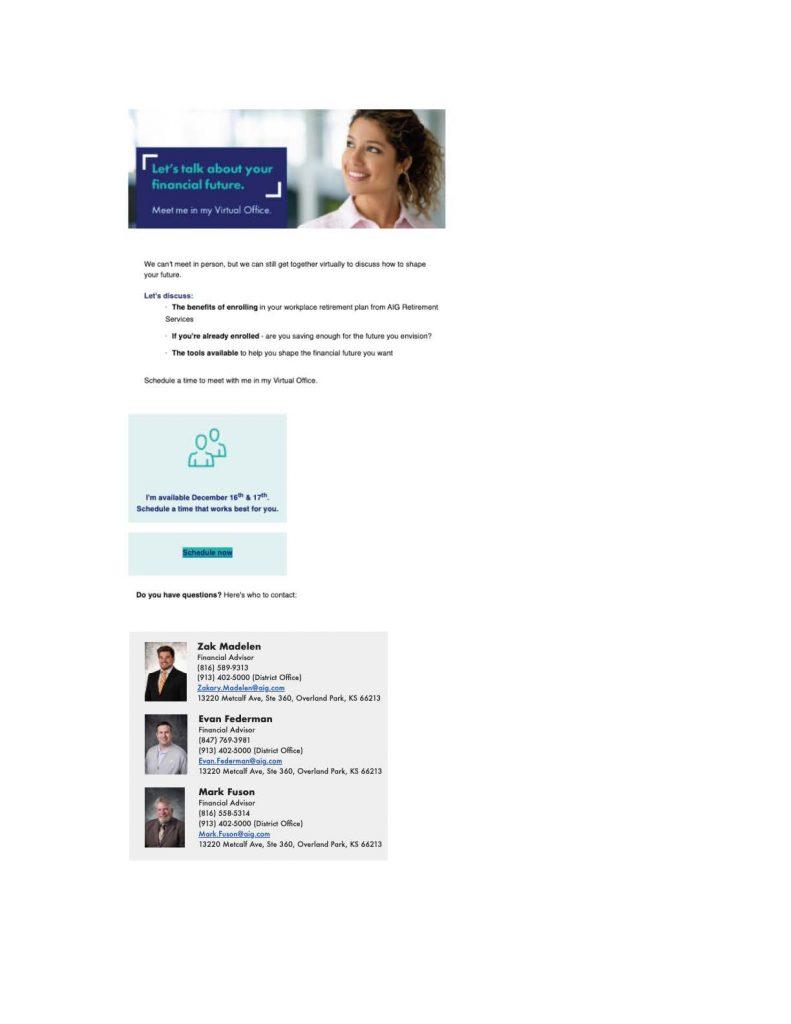 AIG Virtual Appts