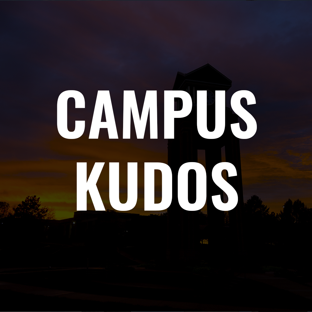 text that reads campus kudos with the clocktower in the sunset