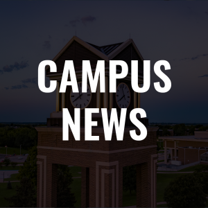 text that reads campus news with the clocktower in the background