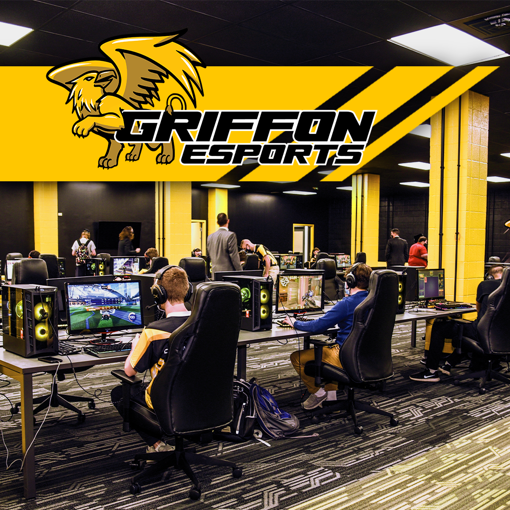 Esports statium filled with students competing in a game with griffon esports logo