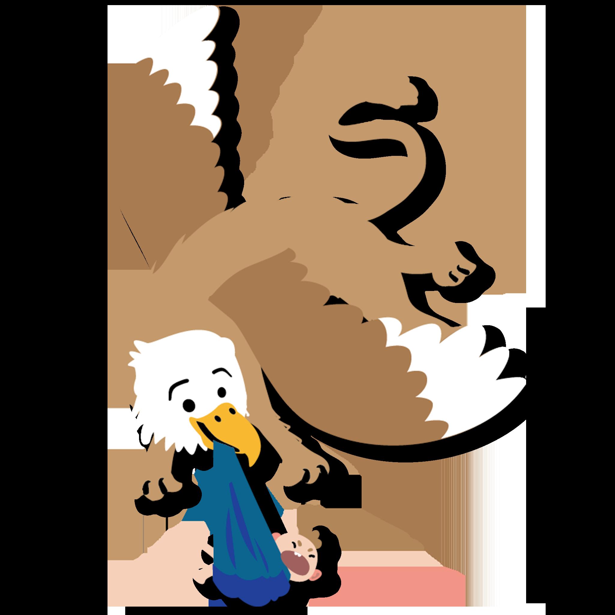 Griffon holding a baby like a stork