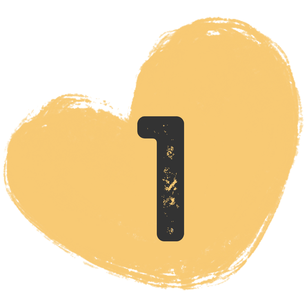 a painted heart shape with the number one