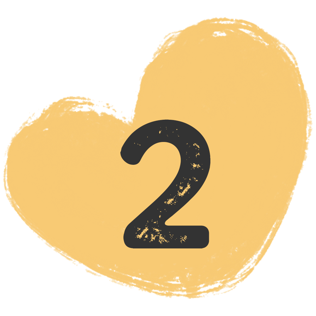 a painted heart shape with the number two