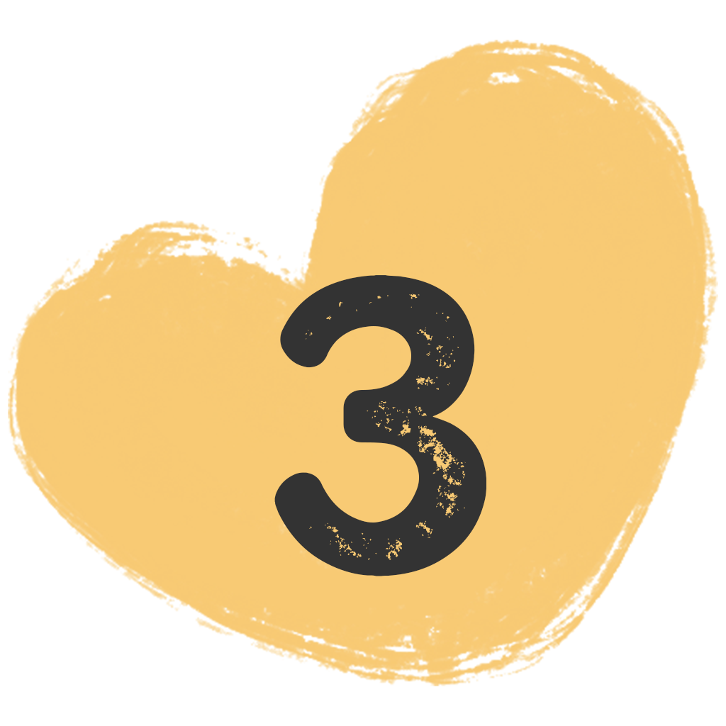 a painted heart shape with the number three