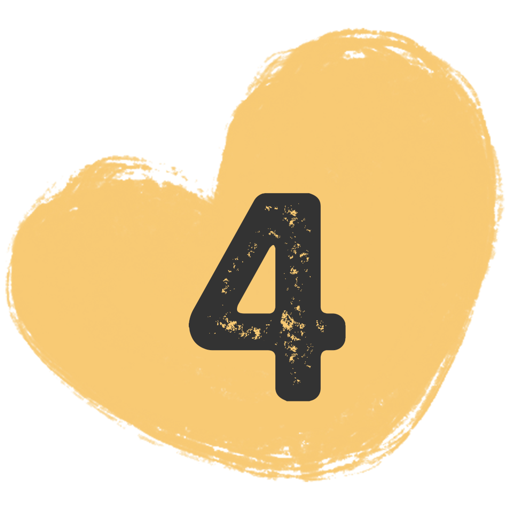 a painted heart shape with the number four