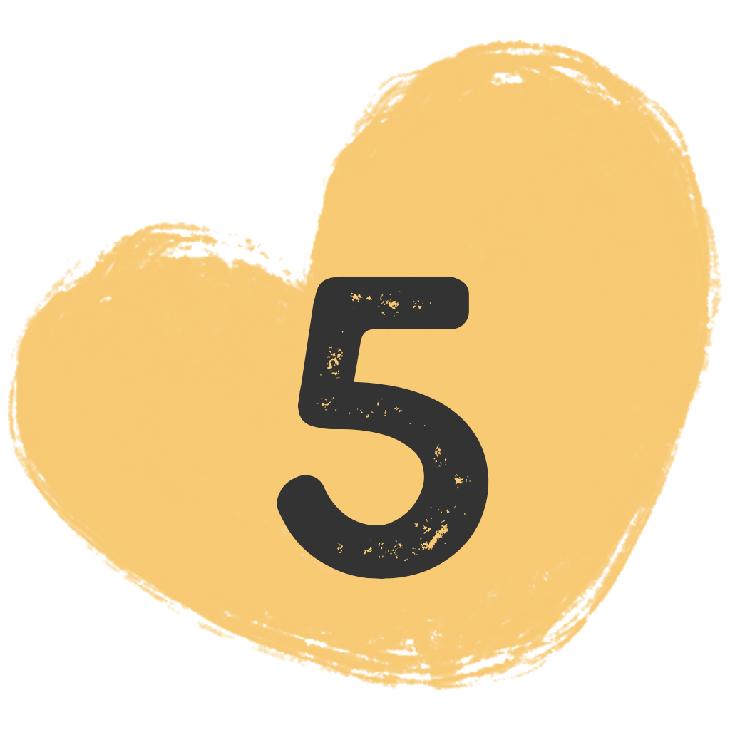 a painted heart shape with the number five