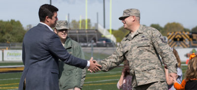Josh Looney honoring military family at the Military Appreciation football game