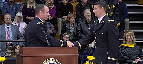 military commissioning at MWSU winter commencement
