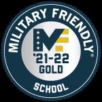 Badge logo that says military friendly school