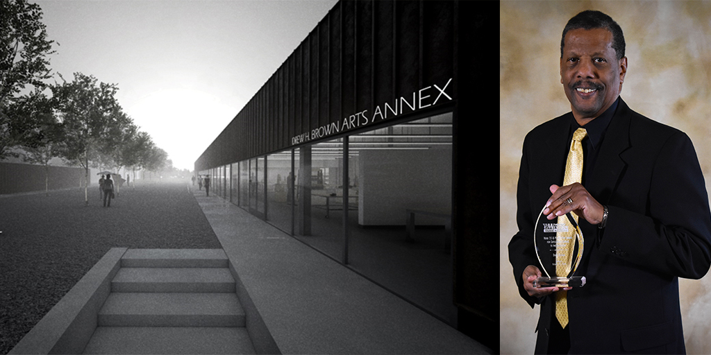 Architect's rendering of the Drew H Brown Arts Annex and a portrait of Drew Brown holding his Alumni Association Award