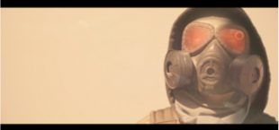 "a person wearing a gas mask looks at the camera in a still from ""The Eclipse."""