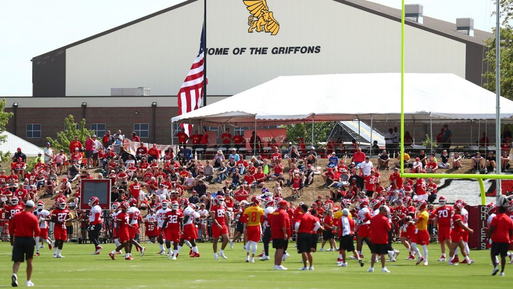 Chiefs practice at MWSU in front of the Griffon Indoor Sports Complex