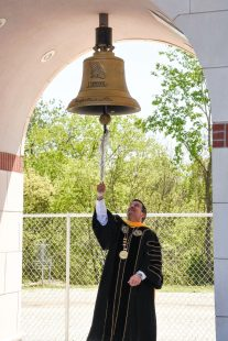 MWSU president rings the bell at commencement ceremony