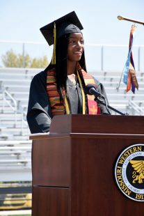 student speaks at commencement ceremony