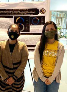 professor student science poster display