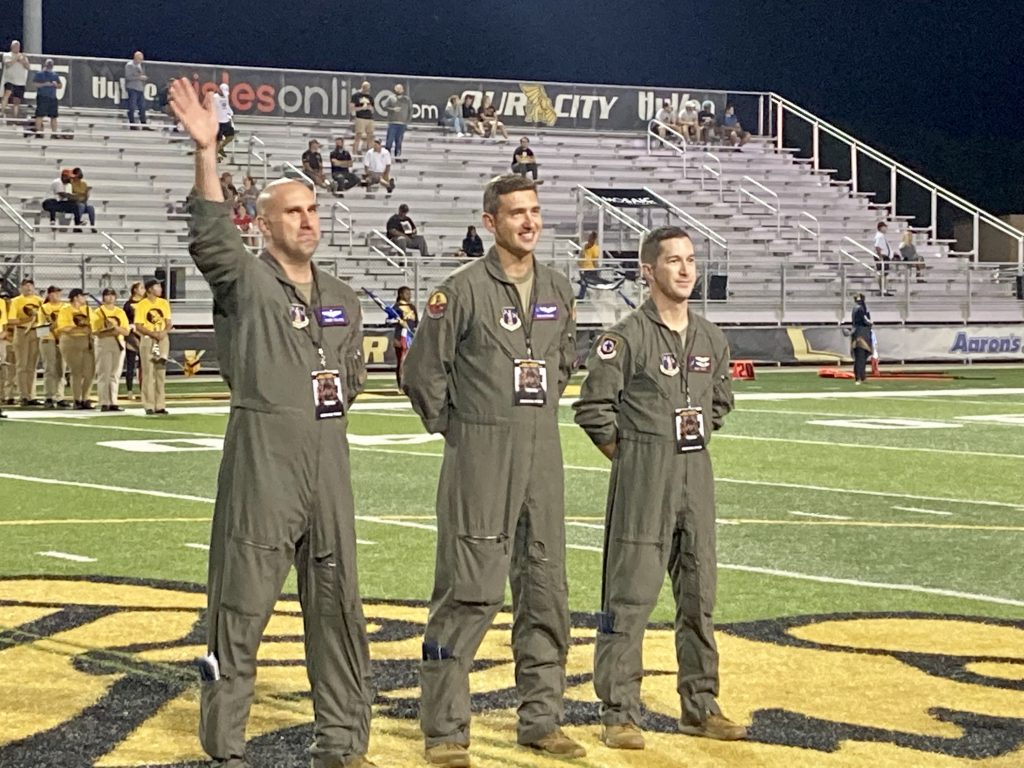 airmen recognized at football game